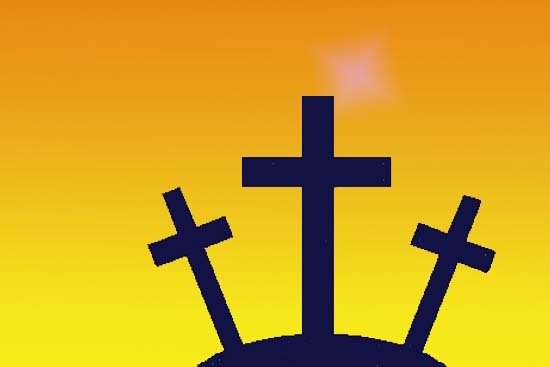 Three crosses on hill with yellow background
